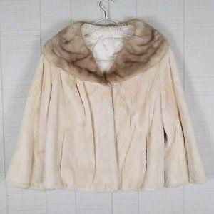 Vintage Fur Coat Jacket Cropped Soft Cream